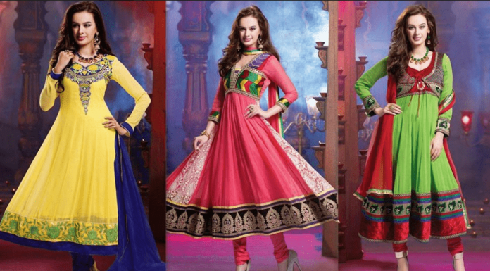 Yellow Red Green Anarkali frock dresses